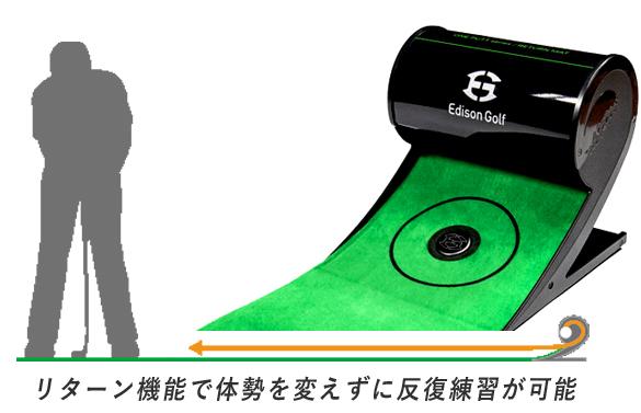 エジソンゴルフのパターマット-オートリターン機能付